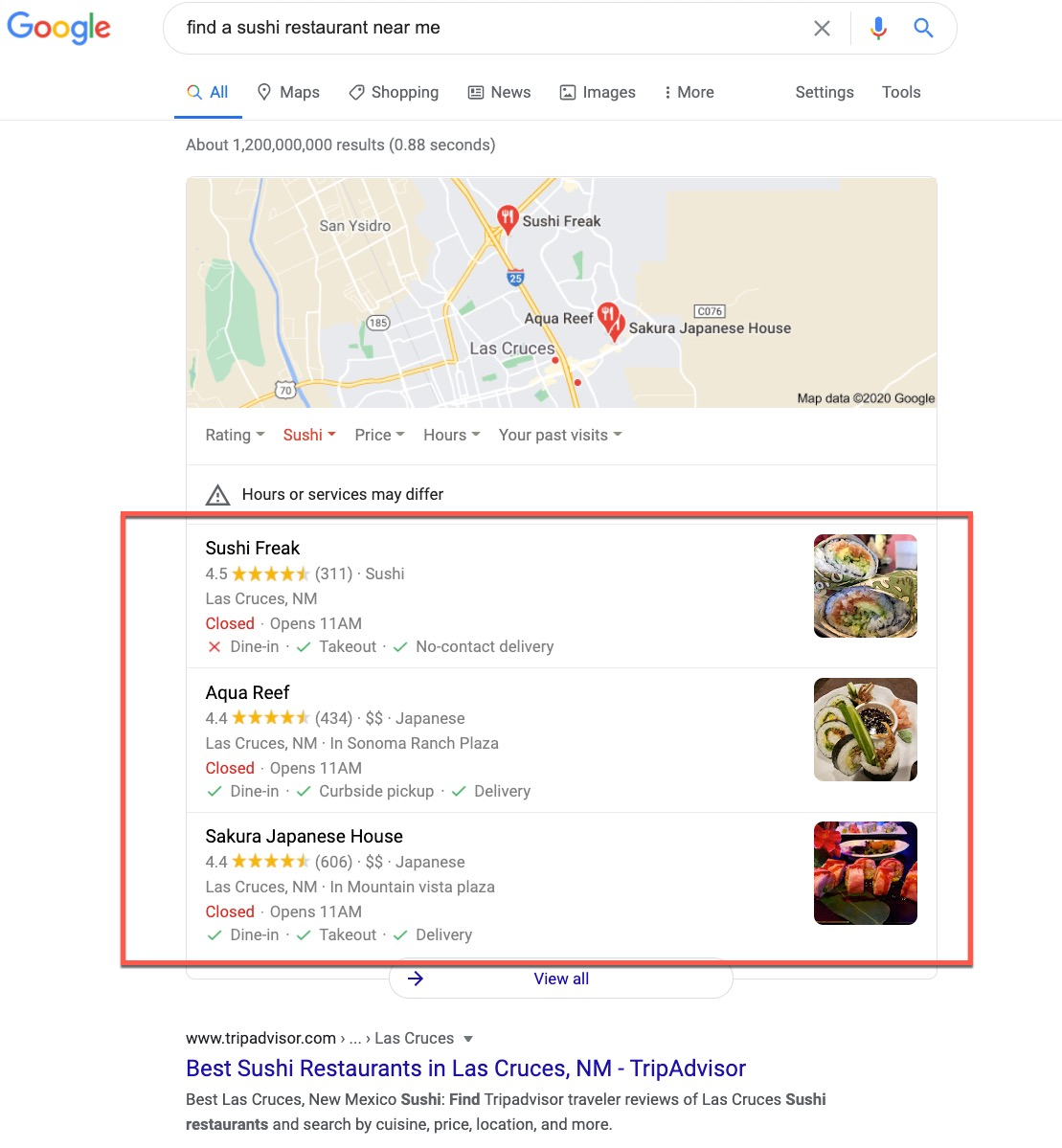 Google 3 Pack Search Results
